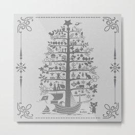 Christmas tree ship (gray) Metal Print