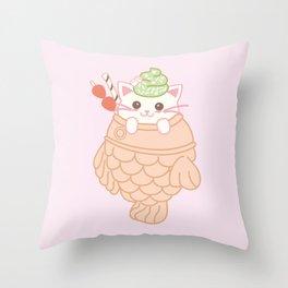 TAIYAKI AND THE KITTY CUTE ICE CREAM Throw Pillow