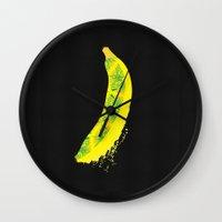 banana Wall Clocks featuring Banana by SaraWired