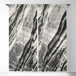 Abstract Marble - Black & Cream Blackout Curtain