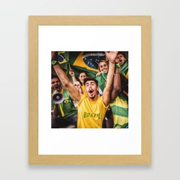 brazilian supporters cheering at the stadium for the world cup Framed Art Print