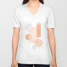 Minimal Abstract Modern Design Terracortta Orange Unisex V-Neck