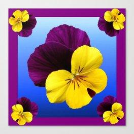Decorative Shaded Blur Yellow-Purple Violas Art Canvas Print