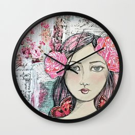 Be Your Own Kind of Beautiful Mixed Media Girl Wall Clock
