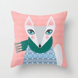 Winter Fox Rocking the Jumper. Throw Pillow