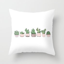 Happy succulent cactuses Throw Pillow