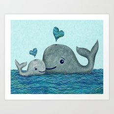 Whale Mom and Baby with Hearts Art Print