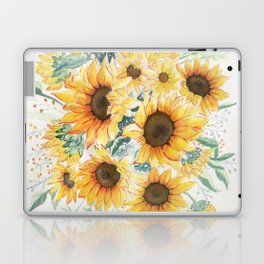 Loose Watercolor Sunflowers Laptop & iPad Skin