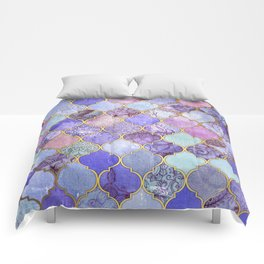 Royal Purple, Mauve & Indigo Decorative Moroccan Tile Pattern Comforters