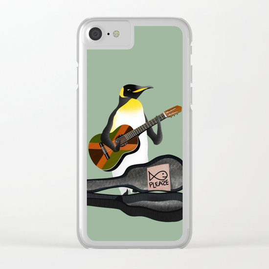 Penguin Busking Clear iPhone Case