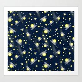Fireflies at Night Art Print