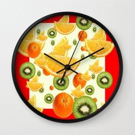 ORANGES & KIWI FRUIT  RED COLLAGE PATTERN Wall Clock