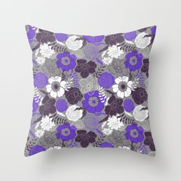 Violet Anemones in Grey Throw Pillow