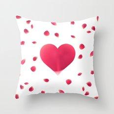 Rose Petal Heart Throw Pillow