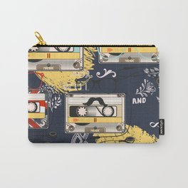 Fashion hipster pattern with cassette on shabby background Carry-All Pouch
