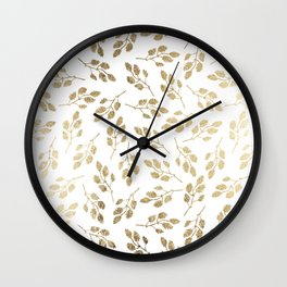Elegant white faux gold modern leaves floral Wall Clock