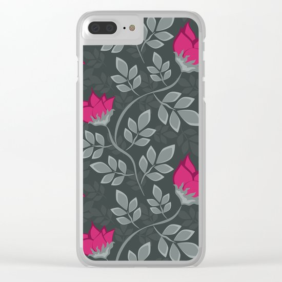 Bright pink flowers on gray Clear iPhone Case