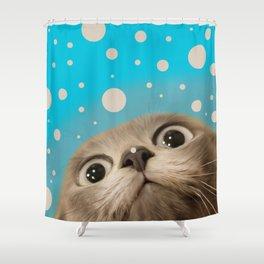 """""""Fun Kitty and Polka dots"""" Shower Curtain"""