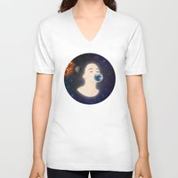 planets V-neck T-shirts featuring Kissing planets by FSDisseny