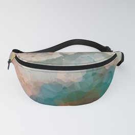 Turquoise Copper Agate Low Poly Geometric Triangles Fanny Pack