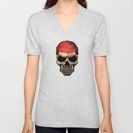 Dark Skull with Flag of Egypt Unisex V-Neck