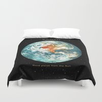 middle earth Duvet Covers featuring Earth by Terry Fan