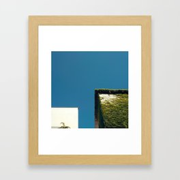 White Square, Green Square, Blue Sky Framed Art Print