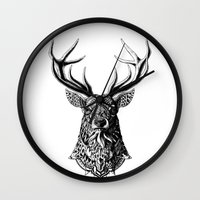 bioworkz Wall Clocks featuring Ornate Buck by BIOWORKZ
