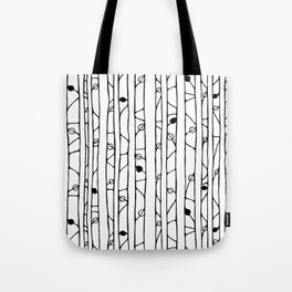 Into the Woods black on white Tote Bag