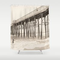 surfer Shower Curtains featuring Surfer Girl by Chellin'