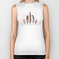 feathers Biker Tanks featuring Feathers by emegi