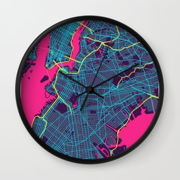 New York Neon City Map, New York Minimalist City Map Wall Clock