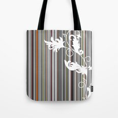 Gray and White Pinstripe Floral Line Design Tote Bag