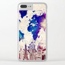 world map city skyline galaxy 2 Clear iPhone Case