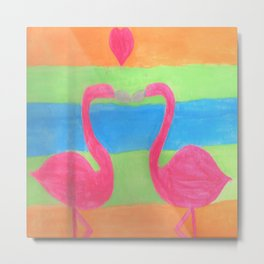 Pink Flamingo Mural Art Metal Print