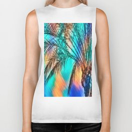 isolate palm tree with painting abstract background in green blue orange Biker Tank