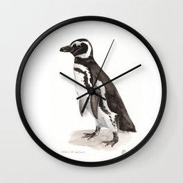 Penguin Watercolor Painting Wall Clock