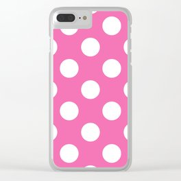 Geometric Candy Dot Circles - White on Strawberry Pink Clear iPhone Case
