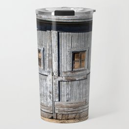 In the Door Series, wooden weather beaten textured doors Travel Mug