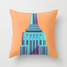 Empire State Building New York Art Deco - Orange Throw Pillow