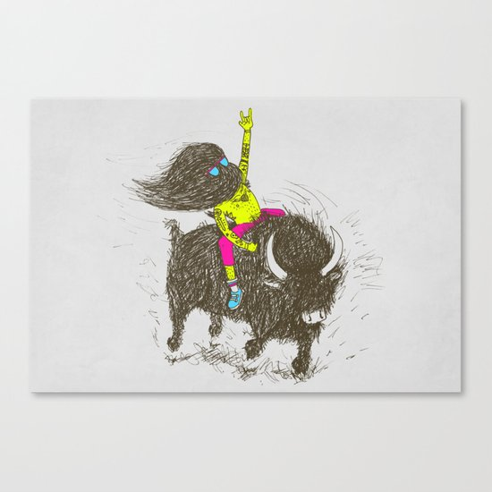 Ride a buffalo Canvas Print
