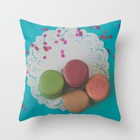macarons Throw Pillows featuring Macarons by Jessica Torres Photography