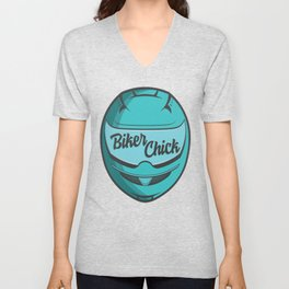 Biker Chick - Teal Unisex V-Neck