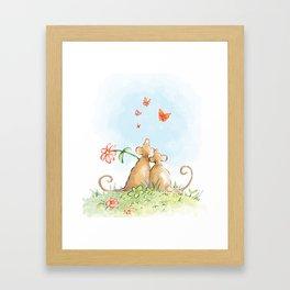 Two Mice In Love Framed Art Print