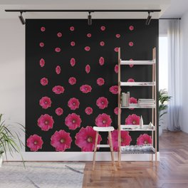CERISE PINK HOLLYHOCKS  LOVERS BLACK PATTERNED ART Wall Mural