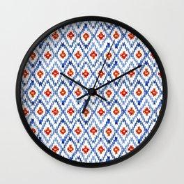 blue rhombus balinese ikat mini Wall Clock