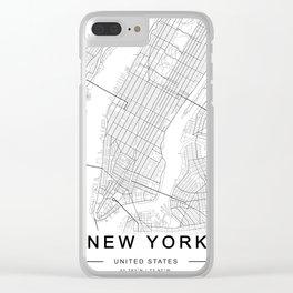 New York Map, Manhattan, USA City Map Clear iPhone Case