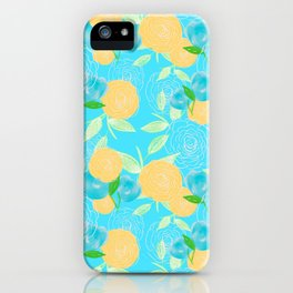 06 Yellow Blooms on Blue iPhone Case