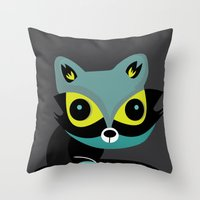 raccoon Throw Pillows featuring Raccoon by Maria Jose Da Luz