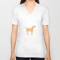labrador V-neck T-shirts featuring Labrador by Cathy Brear